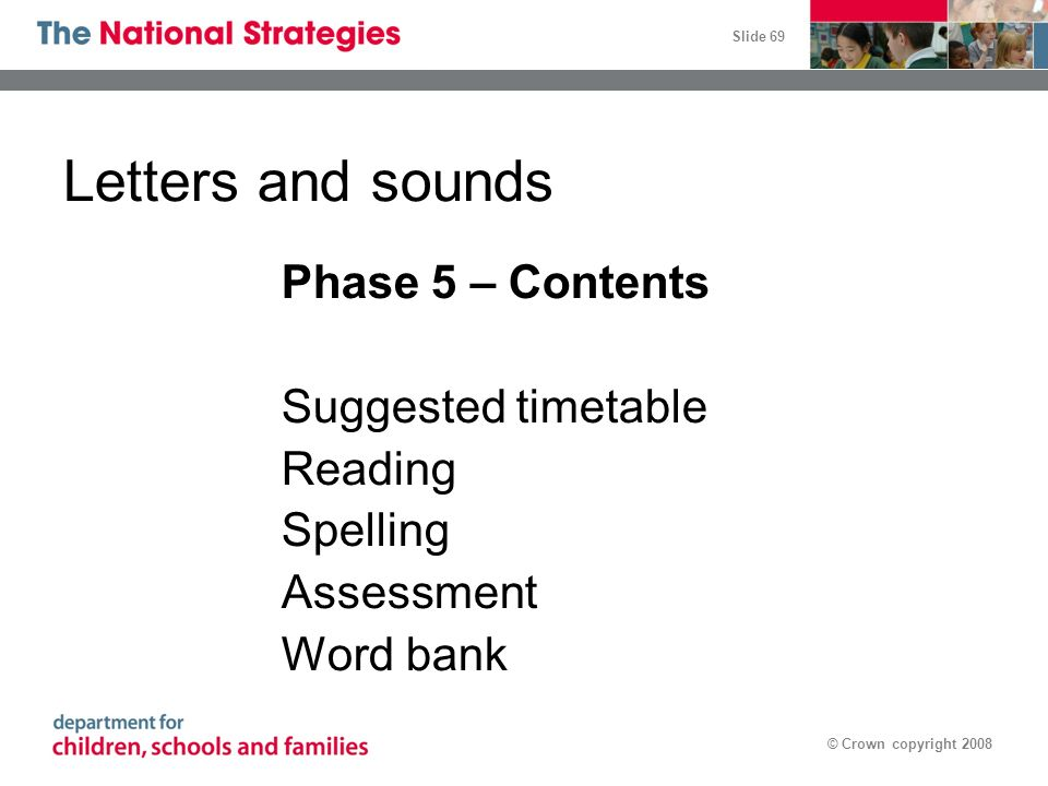 Letters and sounds Phase 5 – Contents Suggested timetable Reading