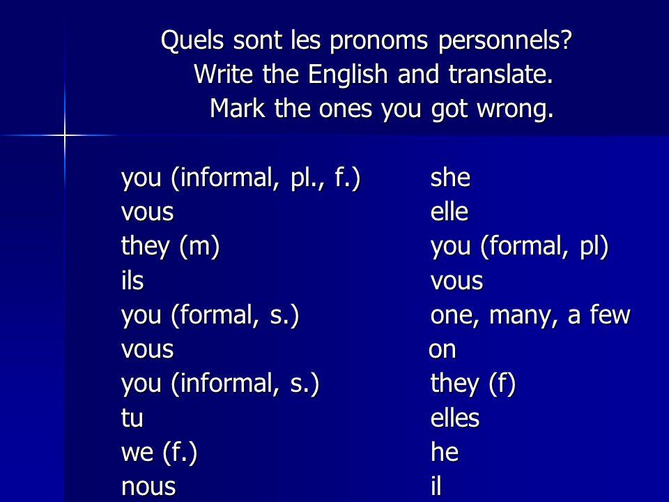 Quels sont les pronoms personnels