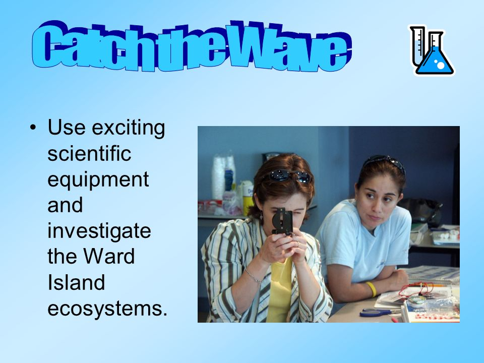 Catch the Wave Use exciting scientific equipment and investigate the Ward Island ecosystems.