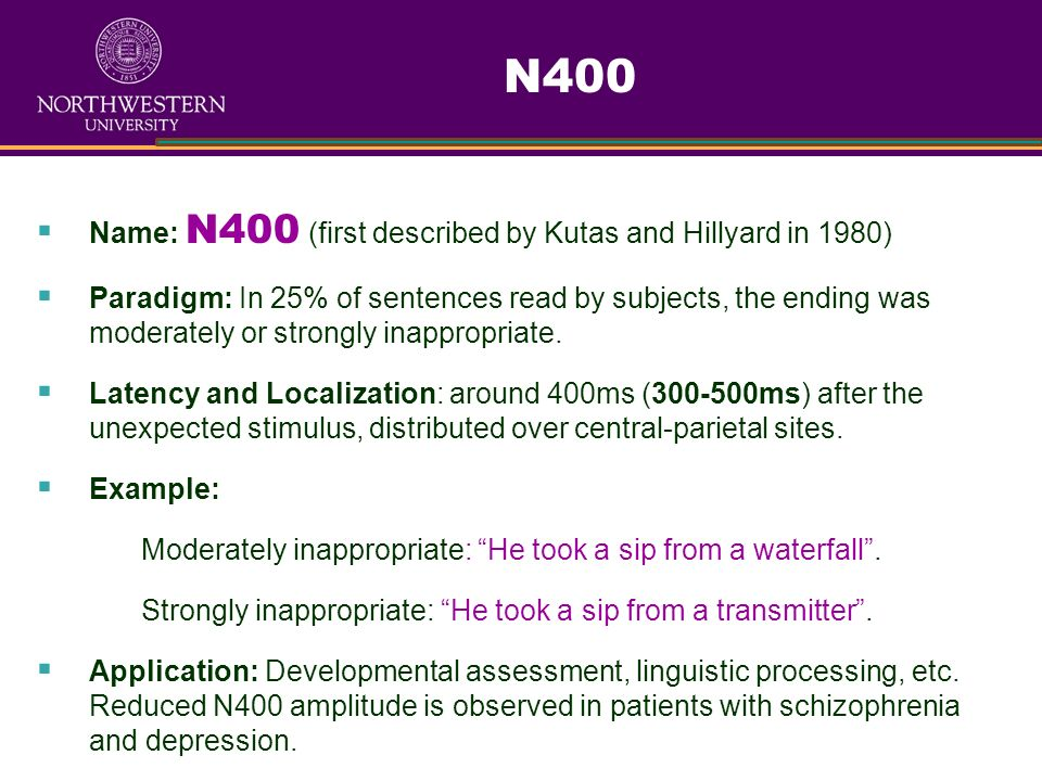 N400 Name: N400 (first described by Kutas and Hillyard in 1980)