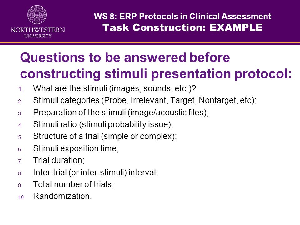 WS 8: ERP Protocols in Clinical Assessment Task Construction: EXAMPLE
