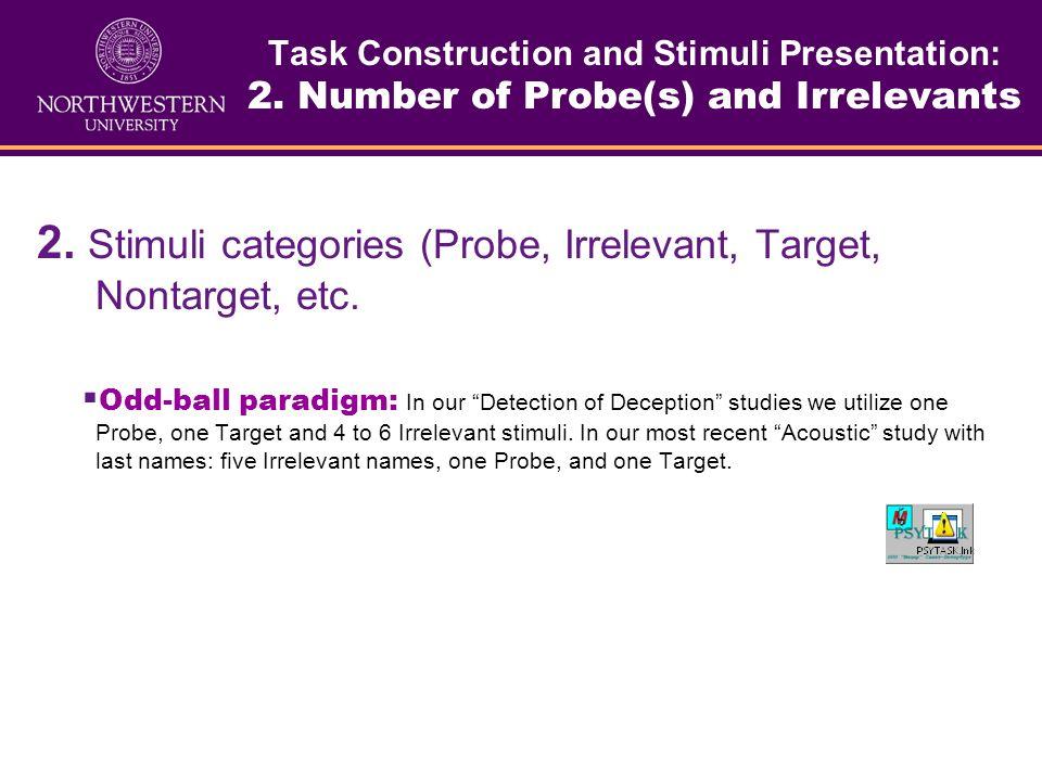 2. Stimuli categories (Probe, Irrelevant, Target, Nontarget, etc.