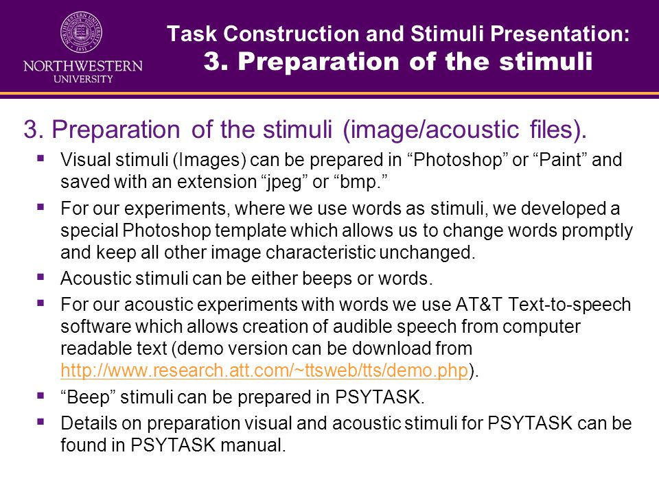 3. Preparation of the stimuli (image/acoustic files).