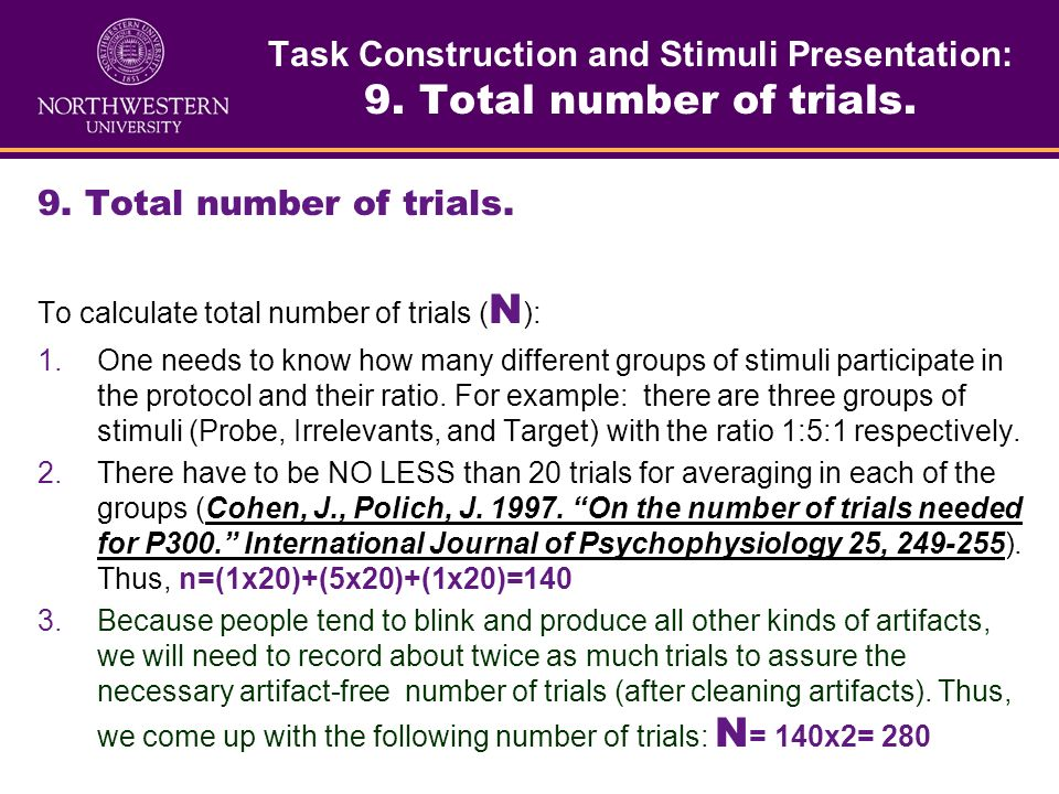 Task Construction and Stimuli Presentation: 9. Total number of trials.