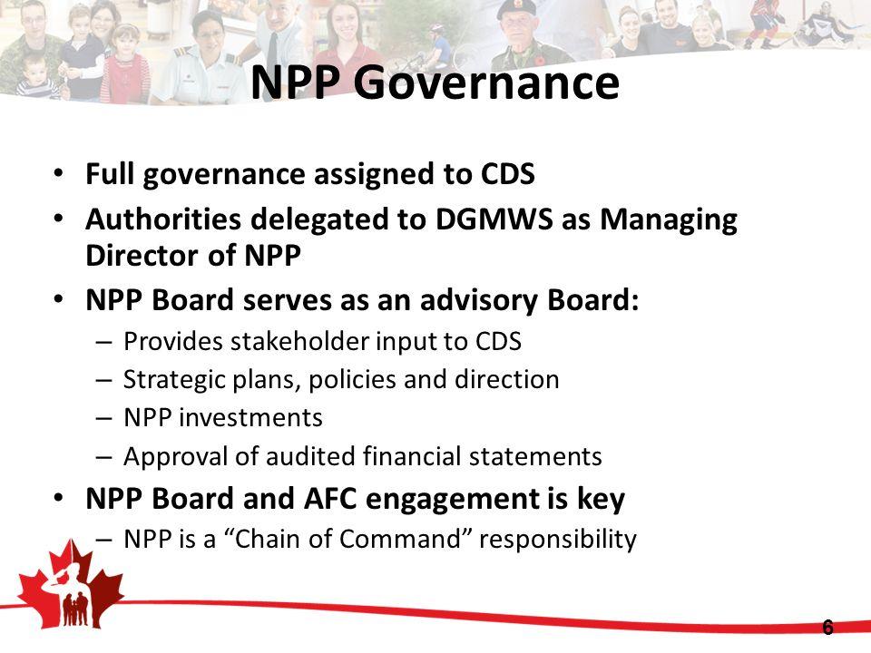 NPP Governance Full governance assigned to CDS