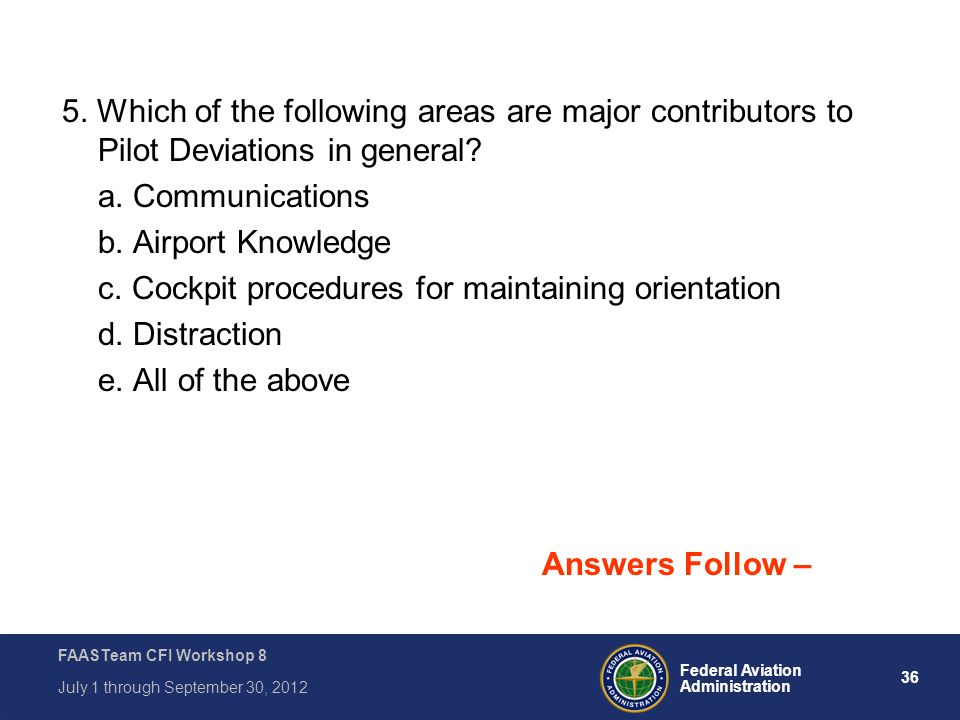5. Which of the following areas are major contributors to Pilot Deviations in general