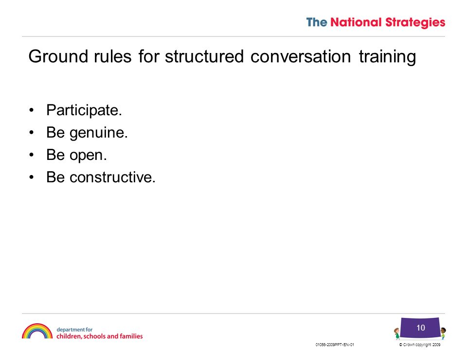 Ground rules for structured conversation training