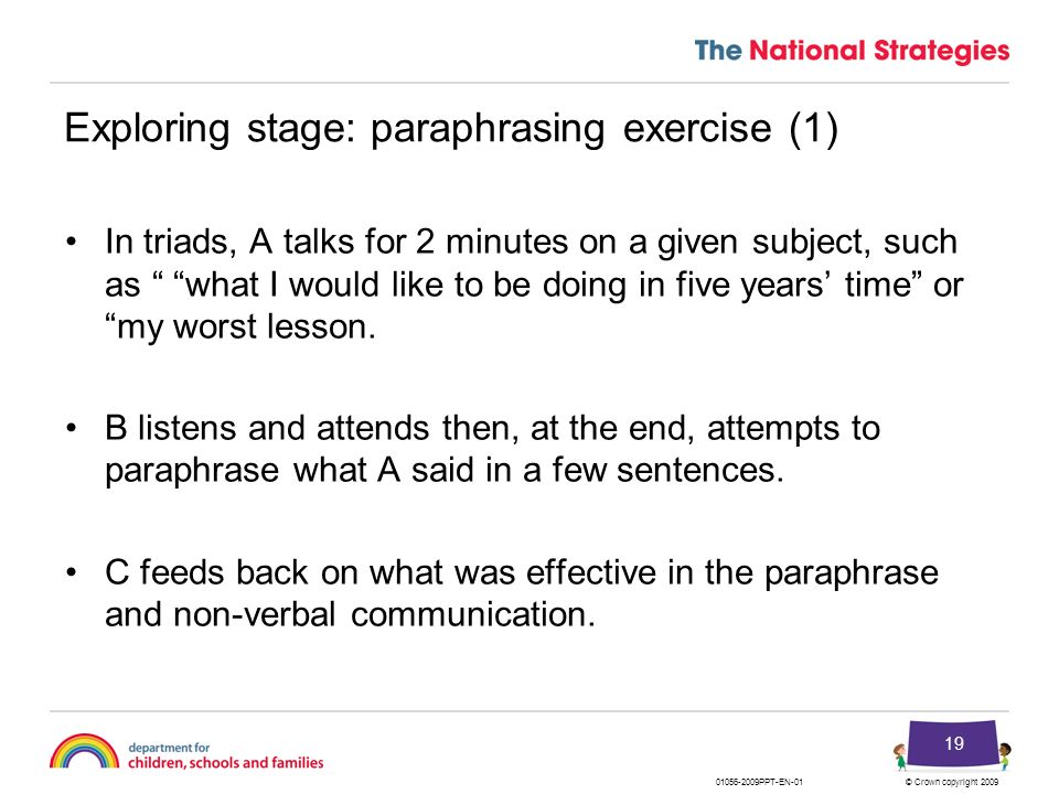 Exploring stage: paraphrasing exercise (1)
