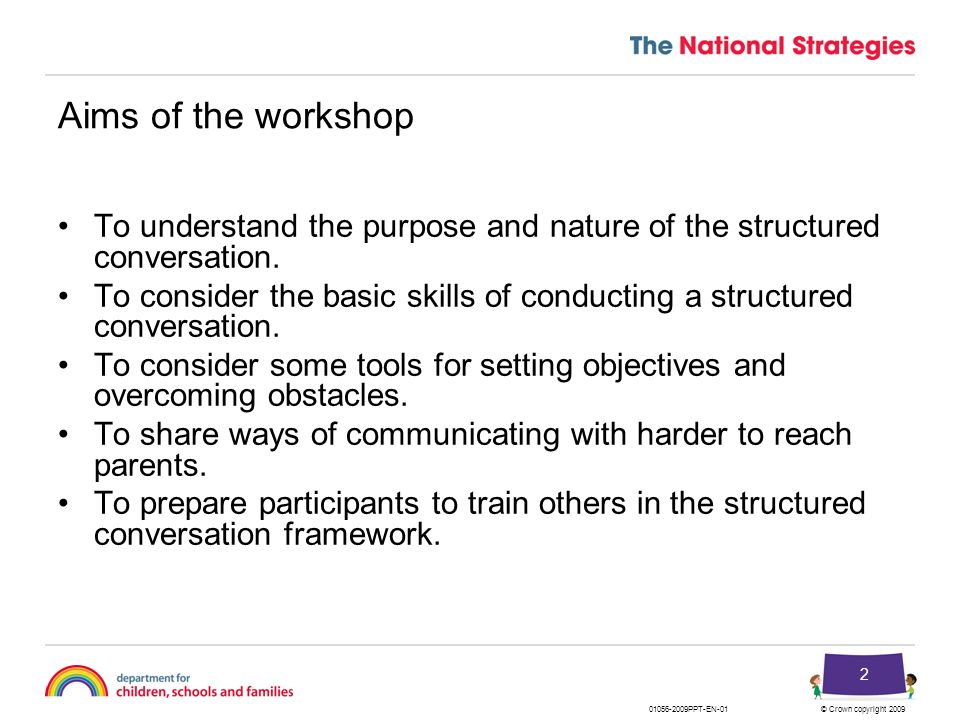 Aims of the workshop To understand the purpose and nature of the structured conversation.