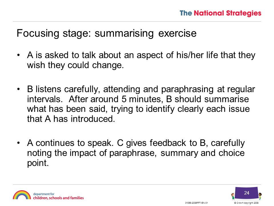 Focusing stage: summarising exercise