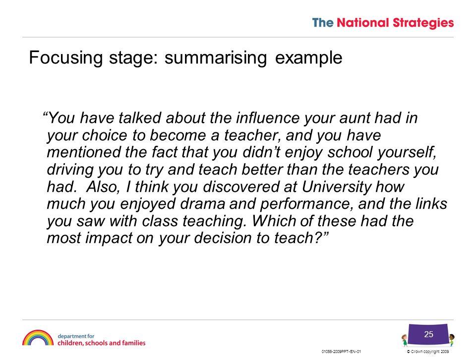 Focusing stage: summarising example