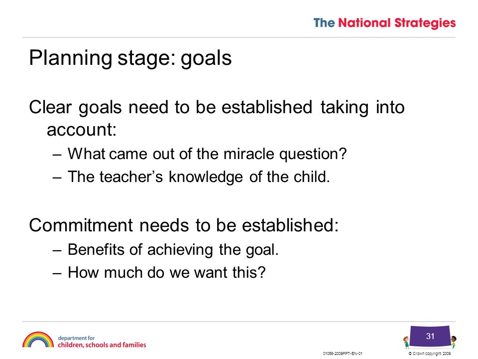 Planning stage: goals Clear goals need to be established taking into account: What came out of the miracle question