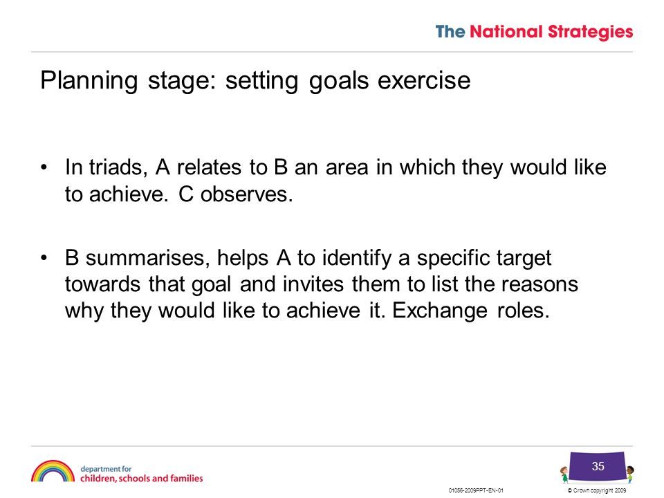 Planning stage: setting goals exercise