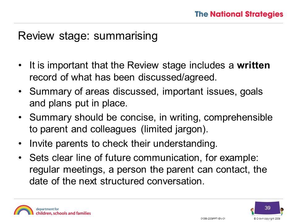 Review stage: summarising