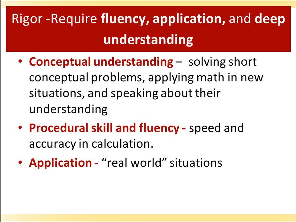 Rigor -Require fluency, application, and deep understanding