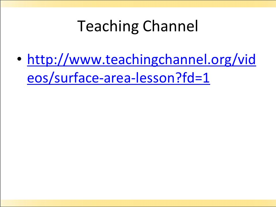 Teaching Channel http://www.teachingchannel.org/videos/surface-area-lesson fd=1