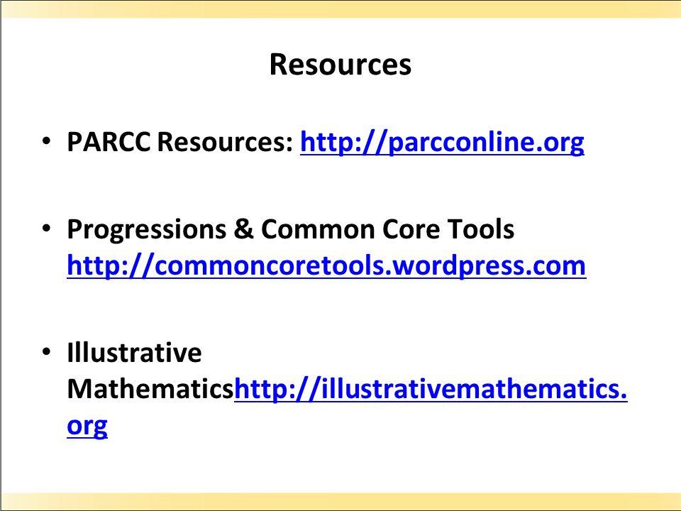 Resources PARCC Resources: http://parcconline.org