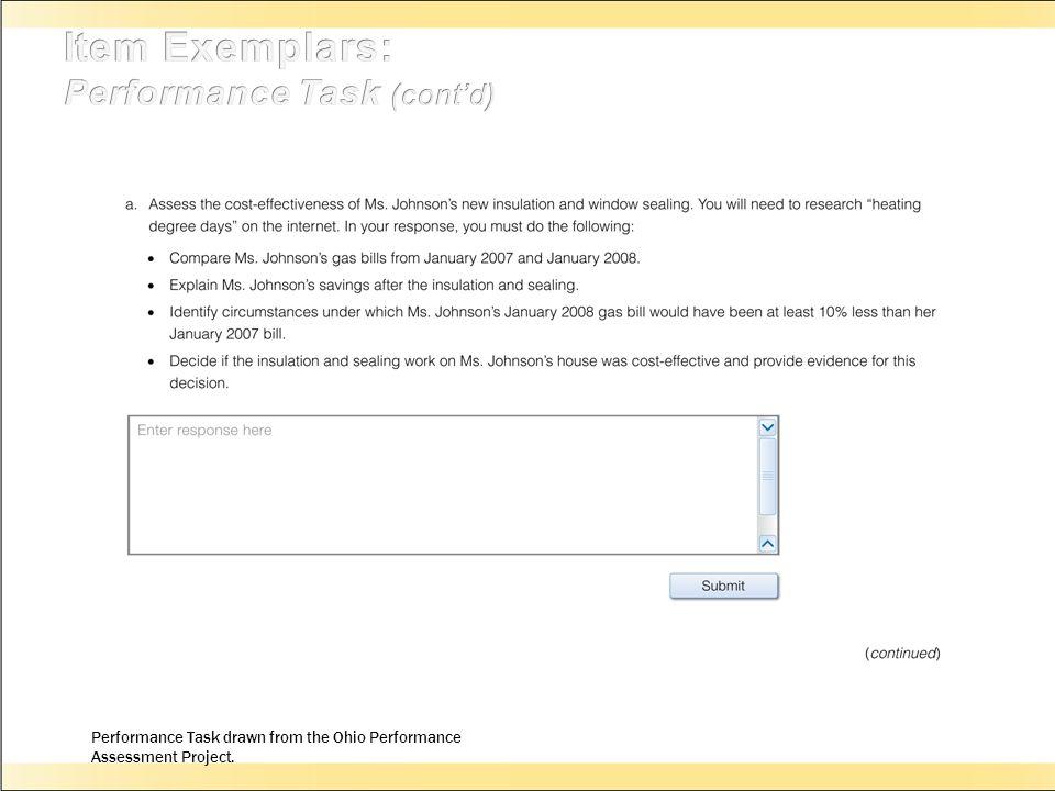 Item Exemplars: Performance Task (cont'd)