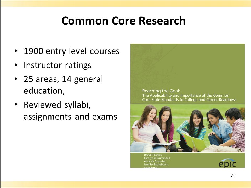 Common Core Research 1900 entry level courses Instructor ratings
