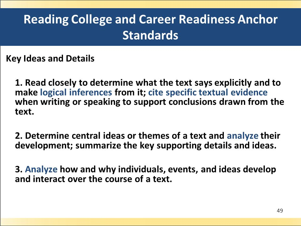 Reading College and Career Readiness Anchor Standards