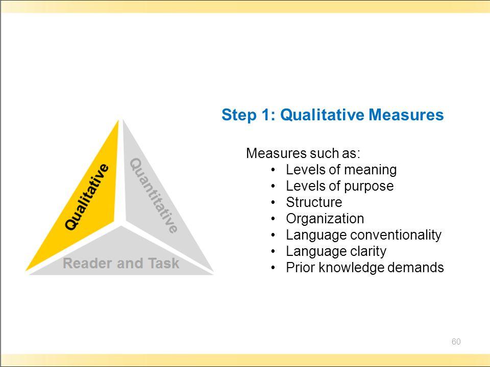 Step 1: Qualitative Measures
