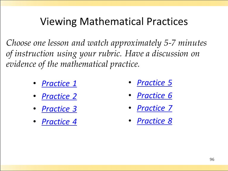 Viewing Mathematical Practices