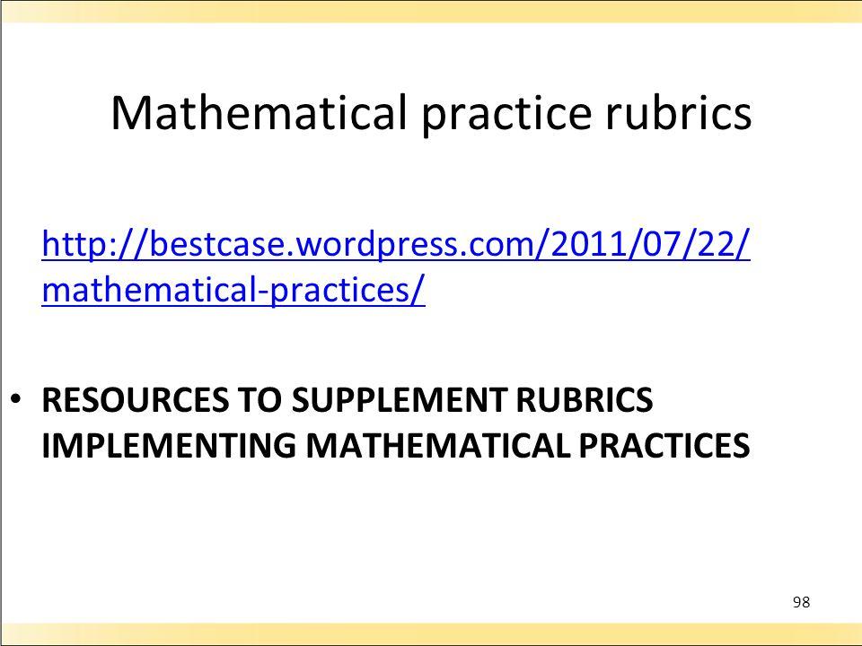 Mathematical practice rubrics