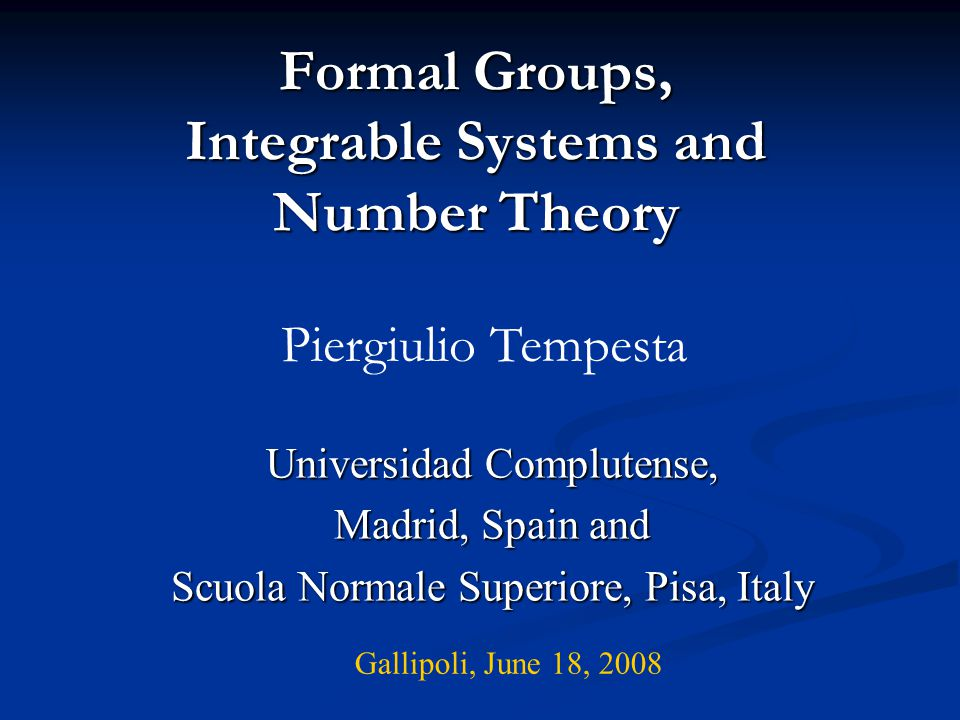 Formal Groups, Integrable Systems and Number Theory