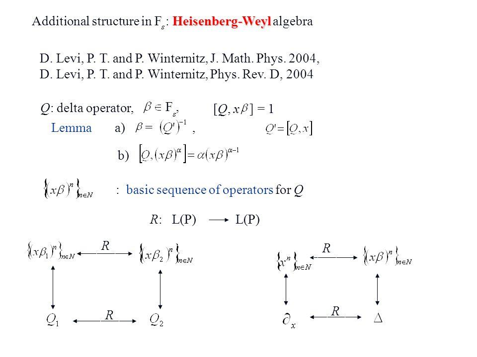Additional structure in F : Heisenberg-Weyl algebra
