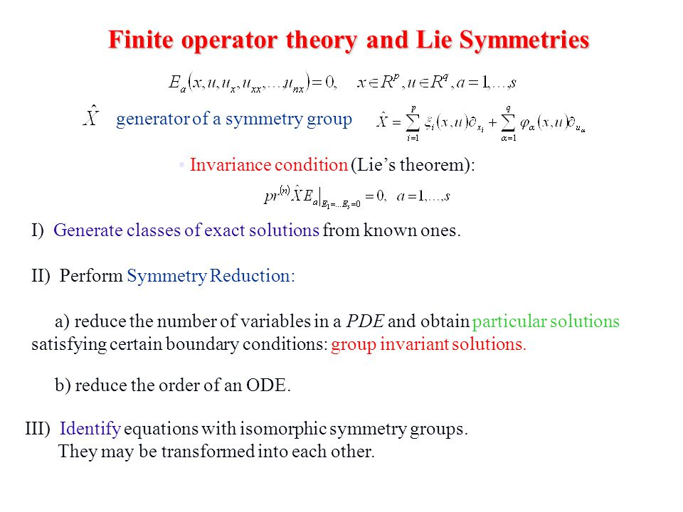 Finite operator theory and Lie Symmetries