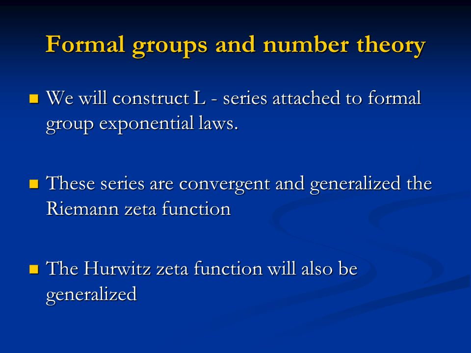 Formal groups and number theory