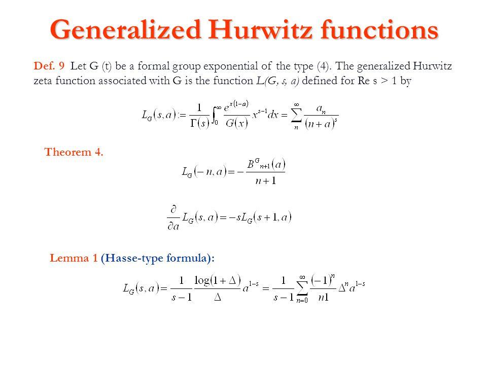 Generalized Hurwitz functions