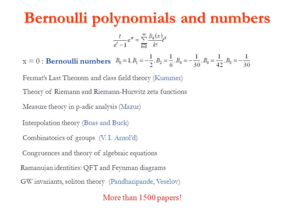 Bernoulli polynomials and numbers