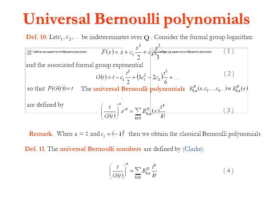 Universal Bernoulli polynomials