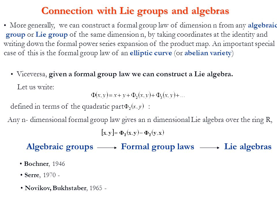 Connection with Lie groups and algebras