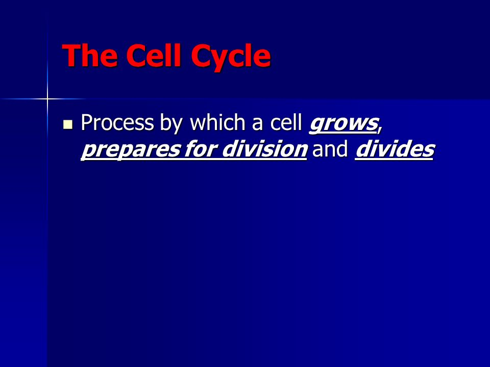The Cell Cycle Process by which a cell grows, prepares for division and divides