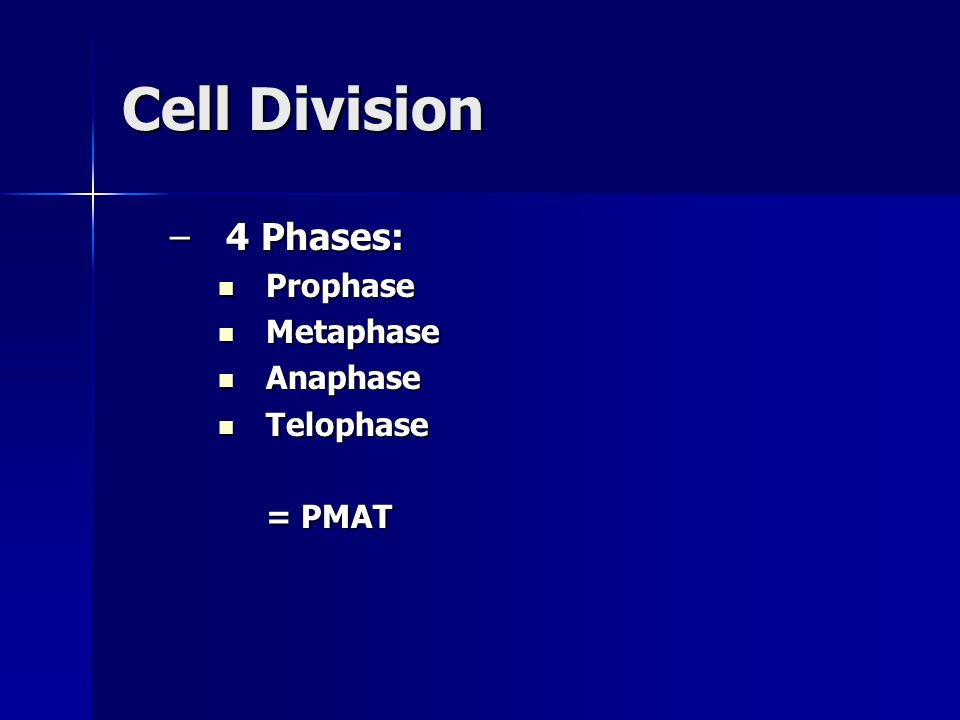 Cell Division 4 Phases: Prophase Metaphase Anaphase Telophase = PMAT