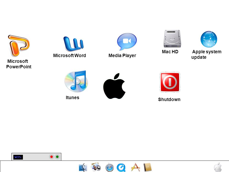 Mac HD Apple system update Microsoft Word Media Player Microsoft PowerPoint Itunes Shutdown