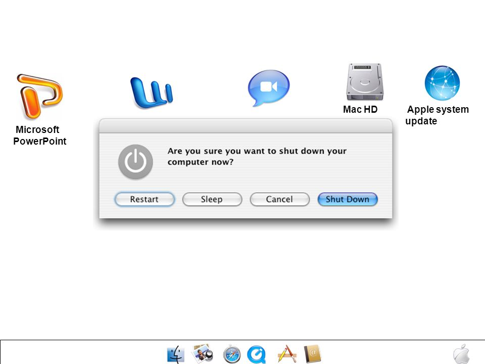 Mac HD Apple system update Microsoft Word Media Player Microsoft PowerPoint