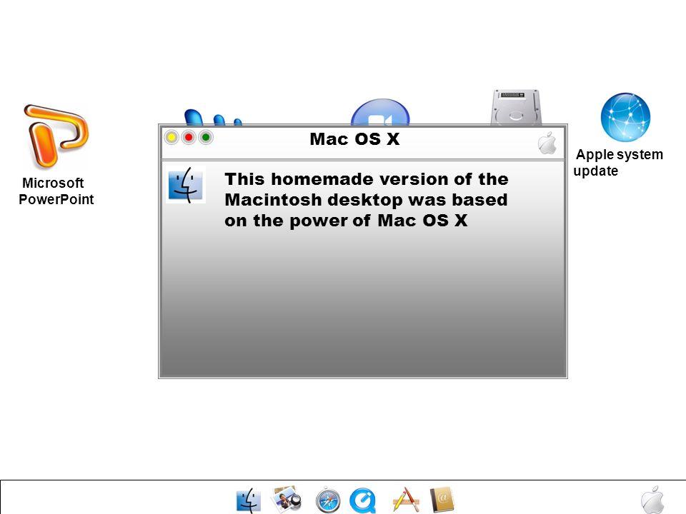 Mac OS X Mac HD. Apple system update. Microsoft Word. Media Player.