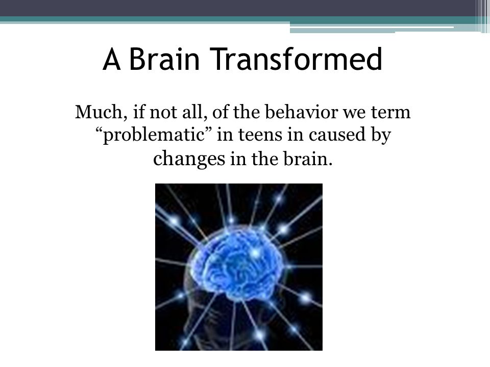 A Brain Transformed Much, if not all, of the behavior we term problematic in teens in caused by changes in the brain.