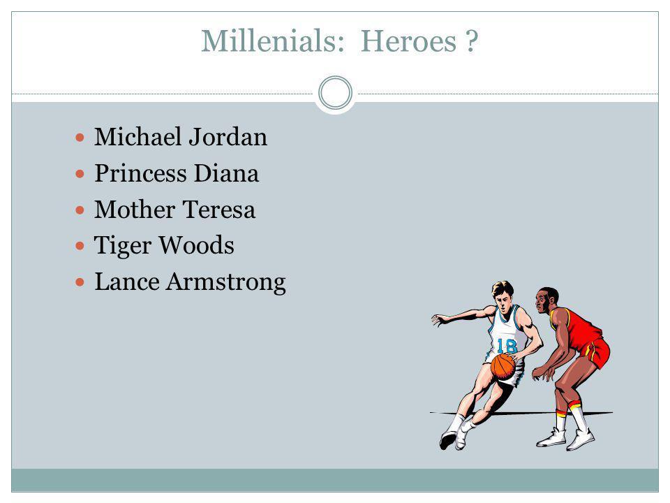 Millenials: Heroes Michael Jordan Princess Diana Mother Teresa