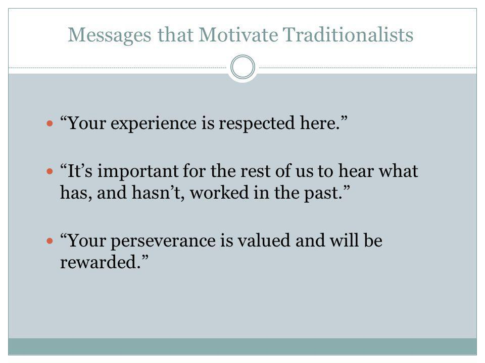 Messages that Motivate Traditionalists