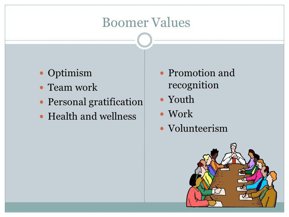 Boomer Values Optimism Team work Personal gratification
