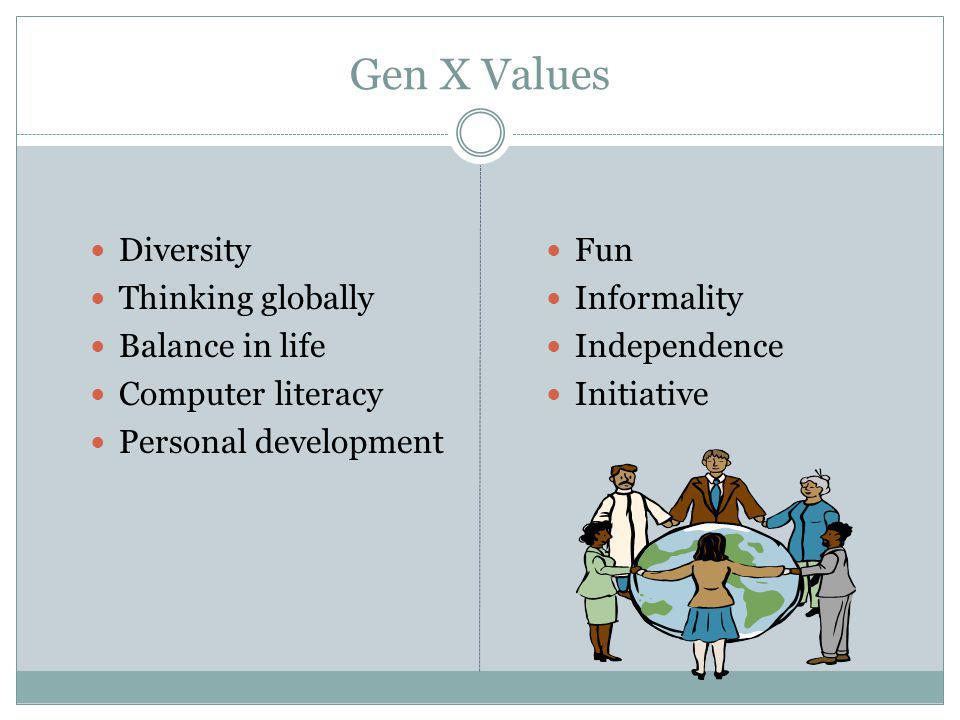 Gen X Values Diversity Thinking globally Balance in life