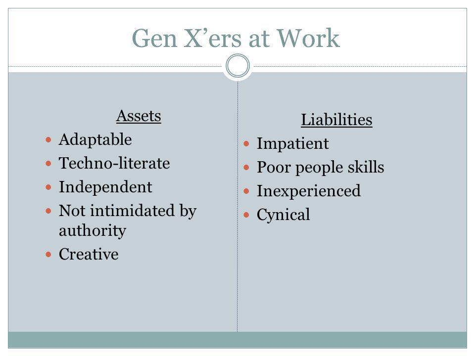 Gen X'ers at Work Assets Liabilities Adaptable Impatient