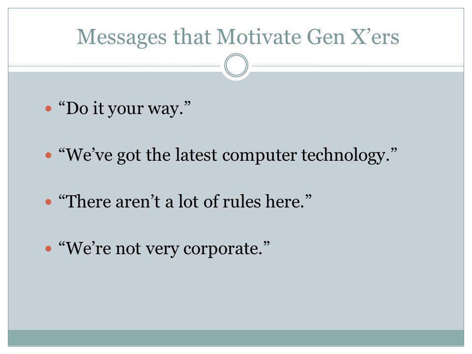 Messages that Motivate Gen X'ers