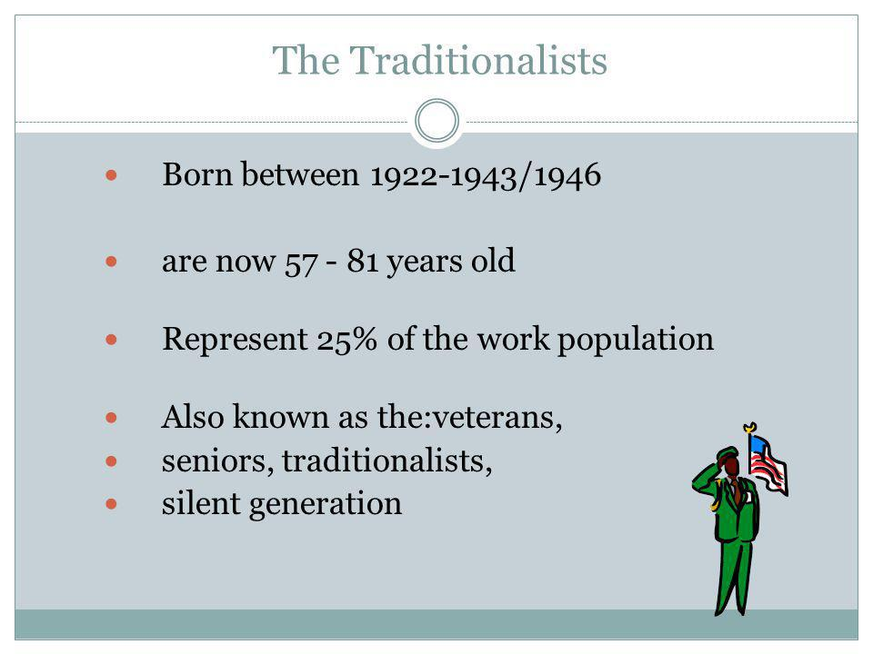 The Traditionalists Born between 1922-1943/1946