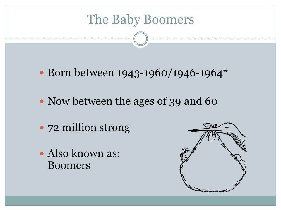 The Baby Boomers Born between 1943-1960/1946-1964*