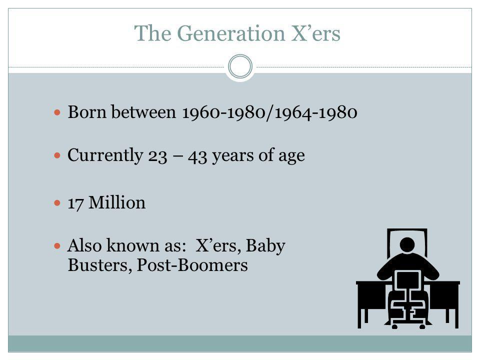 The Generation X'ers Born between 1960-1980/1964-1980